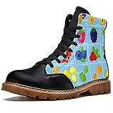 Bennigiry Fruits and Berries Icon Set Botas de Invierno Zapatos clásicos de Lona de caña Alta para Mujer