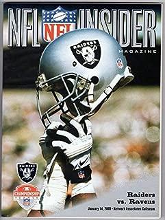 2001 2000 NFL Raiders vs. Ravens AFL Championship Game PROGRAM
