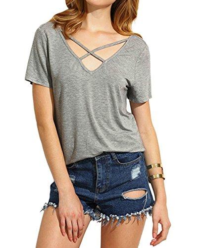 Damen Sommer Kurzarm T-Shirt V-Ausschnitt mit Schnürung Vorne Oberteil Tops Bluse Shirt-BUL