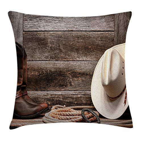 smartgood Western Throw Pillow Fodere per Cuscini, American West Rodeo Tradizionale Paglia Cappello da Cowboy Stivali in Pelle Stampa, Federa Decorativa con Accento Quadrato, 45x45cm, Marrone Chiaro