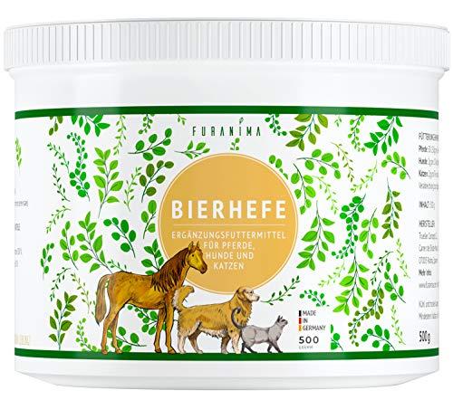 Furanima Bierhefe-Pulver 500g für Hunde, Pferde und Katzen - Bierhefe für Glänzendes Fell und Kräftige Haut, 100% Naturprodukt, Made in Germany