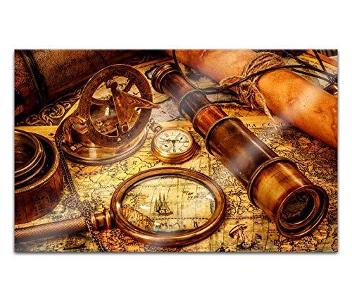 Acrylglasbilder 80x50cm Welt Karte Kompass Fernrohr alt braun Acryl Bilder Acrylbild Acrylglas Wand Bild 14H1017
