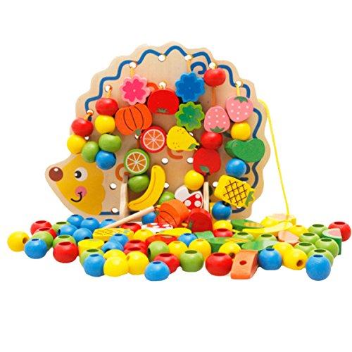 ABBY Jouet de Construction Créatif Jouet Hérisson Fruits Légumes Perles Ficelant Jouets pour Enfant Bébé