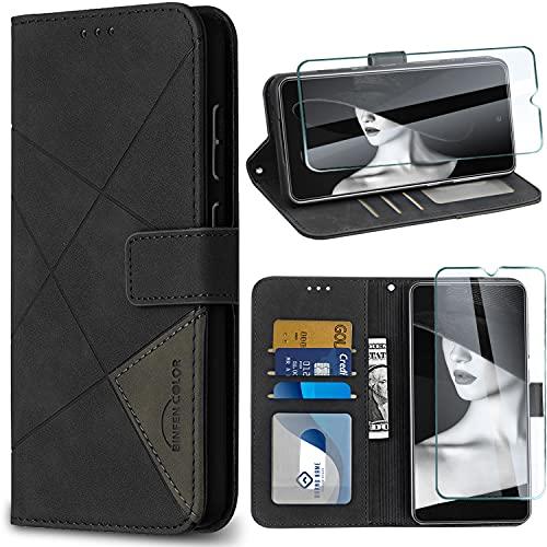 Kompatibel mit Samsung Galaxy A52/A52s Hülle mit Panzerglas Schutzfolie, Handyhülle Original für Samsung A52 Hülle Leder Flip Hülle Schutzhülle 360 Grde Galaxy A52 5G flip case Handytasche Lederhülle