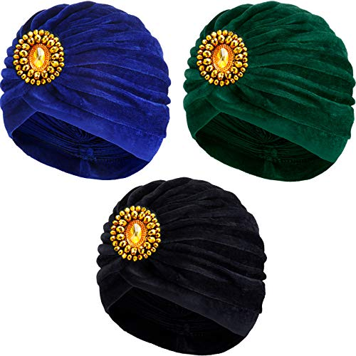 3 Pieces Twist Pleated Hair Wrap Gypsy Head Wrap Women Stretch Turban Head Wrap for Halloween Gypsy Fortune Teller Costume 1920s Gatsby Party