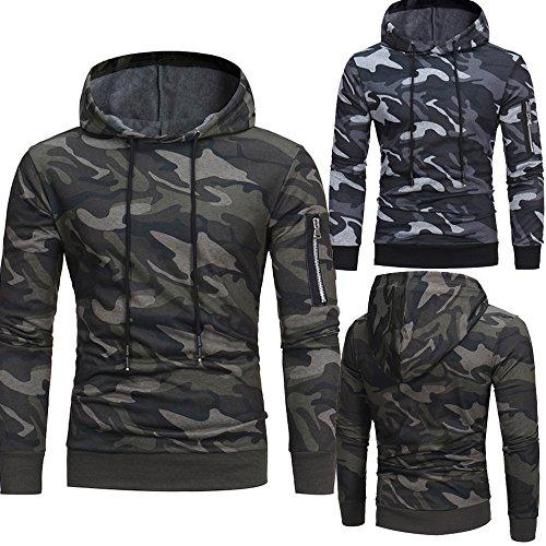 KaloryWee Mens Long Sleeve Hoodie Camouflage Sweatshirt Sports Pullover Spring Autumn Winter Lightweight Casual Slim Fit…