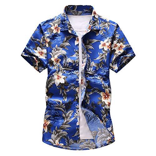 Camisa de Manga Corta con Estampado de Flores de Gran tamaño para Hombre de Verano Salida Informal Diaria en la Playa y Junto al mar M