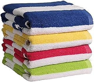 "QUBA Linen - 100% Cotton Bath Towel, Pack of 4, Cabana Stripe Beach Towel, Large Pool Towels (30"" x 60""), Highly Absorben..."