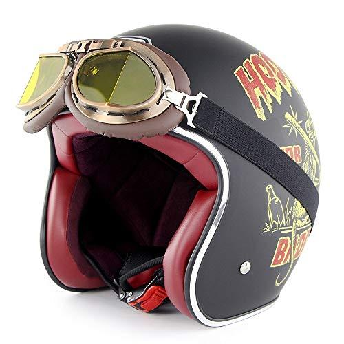GXYS Casco Moto Jet Retro Harley Mezzo Mezzo Casco con Occhiali Certificato DOT Cruiser Chopper Skateboard Ciclomotore Casco Jet Pilota Open Face Adulto Casco Anticollisione,C-L=(59~60cm)