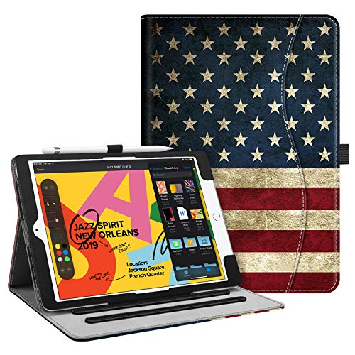 Fintie Case for New iPad 7th Generation 10.2 Inch 2019 - [Corner Protection] Multi-Angle Viewing Folio Smart Stand Back Cover with Pocket, Pencil Holder, Auto Wake/Sleep for iPad 10.2', US Flag