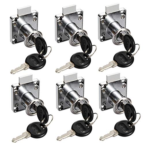 Cerradura para Armario,Liwein 6 Piezas Aerradura para Escritorio Cerradura del Mueble de Oficina Cinc Aleación Cam Cerradura de Seguridad con Llaves para Buzón Taquillas Gabinete Cajón-22mm