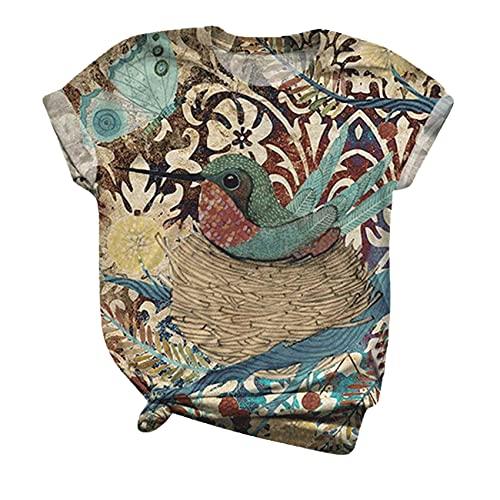 Camiseta Weakqiang para Mujer, Camiseta De Verano De Talla Grande De Manga Corta con Estampado De PáJaro, Camiseta con Cuello Redondo, Camiseta para Mujer, Camisetas para Mujer