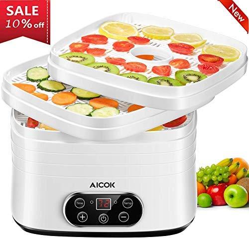 AICOK Deshidratador de Alimentos, 250W Temporizador Deshidratador de Frutas y...