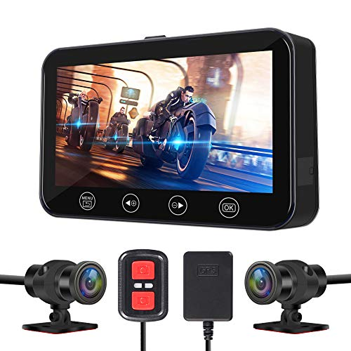 VSYSTO Motorcycle Recording Dash cam Dual Front & Rear 1080P Backup Camera with GPS WiFi 170° Wide...
