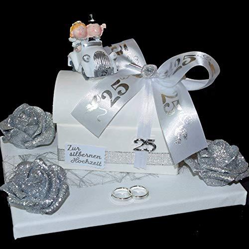 Geld Geschenk zur silbernen Hochzeit - Truhe auf Geschenkplatte -