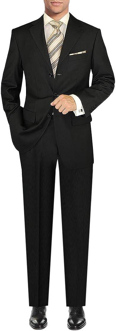 DTI GV Executive Men's Italian Wool 3 Button Suit 2 Piece Set Jacket Pant Stripe