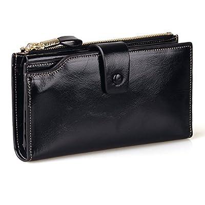 Jack&Chris Women's RFID Blocking Luxury Genuine Leather Clutch Wallet Card Holder Organizer Ladies Purse,WB301