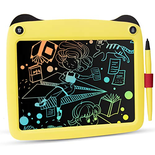 BUODREPE LCD Writing Tablet 9 Inches Colorful Drawing Board Erasable and Reusable Digital Doodle Board Educational Toys Gifts for 2 3 4 5 6 Year Old Age Kids Toddlers Boys Girls Yellow