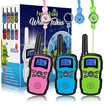 Wishouse Walkie Talkies for Kids 3 Pack, Family Two Way Radio Long Range, Outdoor Game Camping Adventure Amy Police Toys Birthday Xmas Gifts for 3 4 5 6 7 8 9 10 11 12 Year Old Girl Boy (No Battery)