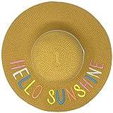 """Fun Verbiage Elegant Wide Brim 4"""" Summer Derby Beach Pool Floppy Dress Sun Hat (Hello Sunshine, Natural Pastel)"""