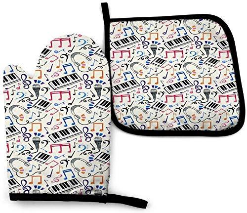 MODORSAN Good Beats Music Notes Symbols Manopla y agarradera para Horno, Juego de Alfombrillas para Guantes y agarraderas para Horno, Resistencia Avanzada al Calor