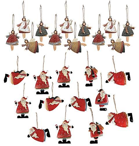 4E's Novelty 24 Christmas Holiday Tree Ornaments, Gift Tags, 12 Dancing Metal Angels Decor, 12 Metal Tin Santa Claus Christmas Ornaments