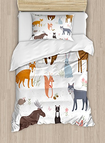 Ambesonne Cabin Duvet Cover Set, Animals in The Springtime Meadow Childish Woodland Fauna Kids Baby Room Nursery, Decorative 2 Piece Bedding Set with 1 Pillow Sham, Twin Size, Brown White
