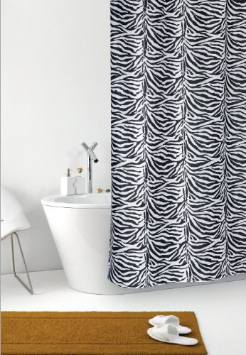 wohnideenshop Duschvorhang Zebra weiß schwarz Zebrastreifen Textil 240cm breit x 200cm lang inkl. Ringe