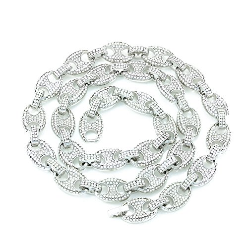 Men's Bling Icy Mariner Link Necklace/Bracelet Silver Finish Lab Created Diamonds 12MM (8.5-30 inches) (Chain 30'')