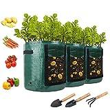 AONOKOY 3 Stück Pflanzsack, 7 Gallonen Wiederverwendbar Pflanzbeutel Wachsende Tasche mit Sichtfenster und Griffen, Atmungsaktive Pflanztaschen für Kartoffeln,Tomaten,Blumen, Süßkartoffeln, Erdnüsse