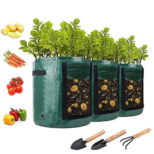 AONOKOY 3 Stück Pflanzsack, 7 Gallonen Wiederverwendbar Pflanzbeutel Wachsende Tasche mit Sichtfenster und Griffen, Atmungsaktive Pflanztaschen für...