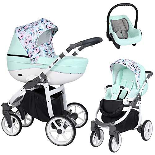 KUNERT Kinderwagen MASTER Sportwagen Babywagen Autositz Babyschale Komplettset Kinder Wagen Set 3 in 1 (Minze mit Blumen, Rahmenfarbe: Weiß, 3in1)