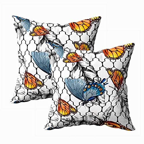 Jesmacti Comfortable Pillow Case,Couch Cover Pillow Cases Exotic Butterflies Wild Insect in Watercolor Style Background Big Pillow Case,Contour Pillow Case 18X18 Inches 2 Pcs,Green Peach
