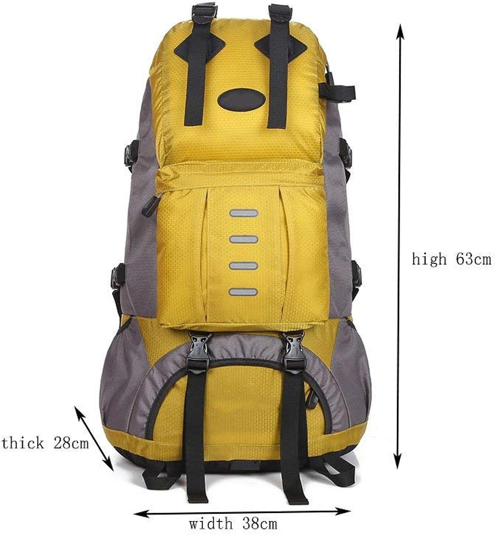 MDD Rucksack Outdoor Herren und Damen 50L Hochleistungsrucksack Leicht und praktisch Schn im Aussehen Wild,Gelb