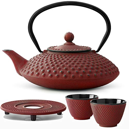 Bredemeijer Teekanne asiatisch Gusseisen Set rot 1,25 Liter mit Tee-Filter-Sieb mit Stövchen und Teebecher (2 Tassen) rot
