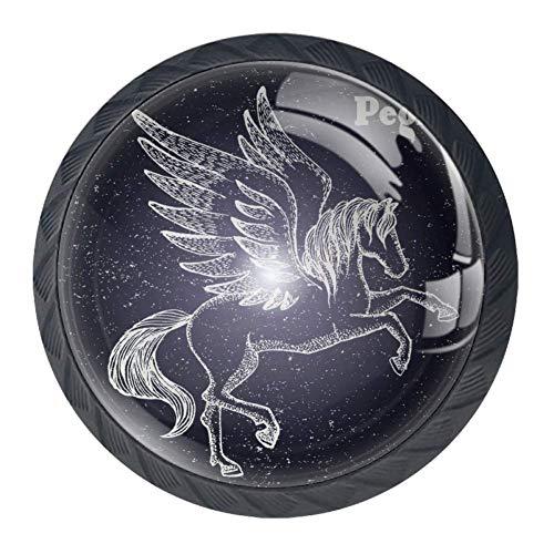 Schubladengriffe Drop Bail Pull Schrank Kommode Lila Stern, Aufzucht Pegasus Sternbild, 3.5×2.8CM/1.38×1.10IN
