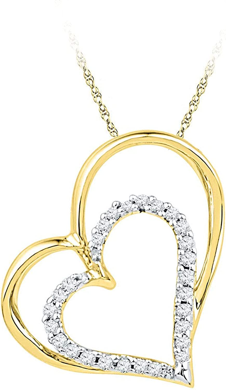 10kt Yellow gold Womens Round Diamond Double Heart Outline Pendant 1 8 Cttw