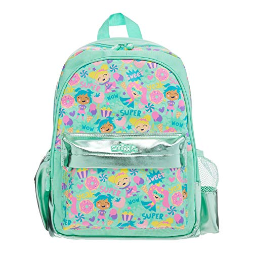 Smiggle Cheer Junior Backpack for Boys & Girls with Adjustable Shoulder Straps, Carry Handle & Dual Drink Bottle Sleeves | Ice-Cream Print