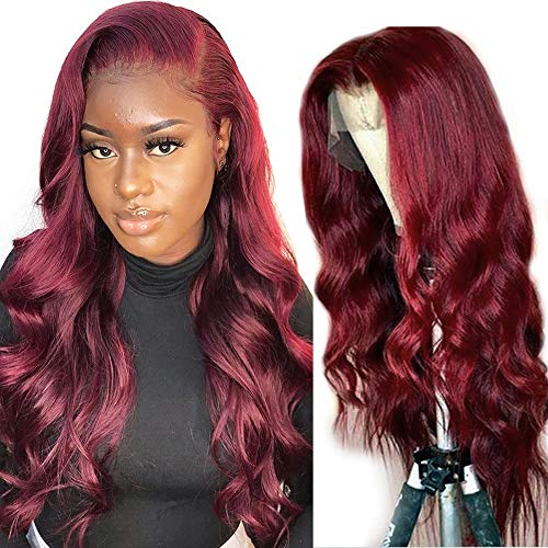 Lace Front Wig Human Hair - ORANGE STAR Brazilian Straight Body Wave 13x4 Lace Frontal 99j Human Hair Wigs for Women High Ratio 150% Handtied With Baby Hair (20\