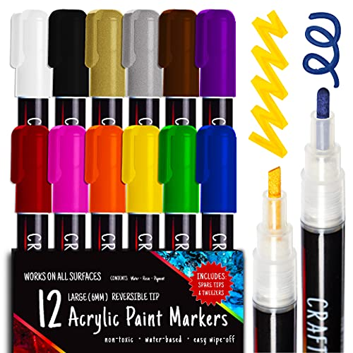 Crafts 4 ALL Acrylic Paint Pens - Markers For Painting Rock, Stone, Ceramic, Glass, Wood, Canvas - Set of 12 Colors, Broad tip 6mm Bullet and Chisel - Easy To Use Crafting Supplies
