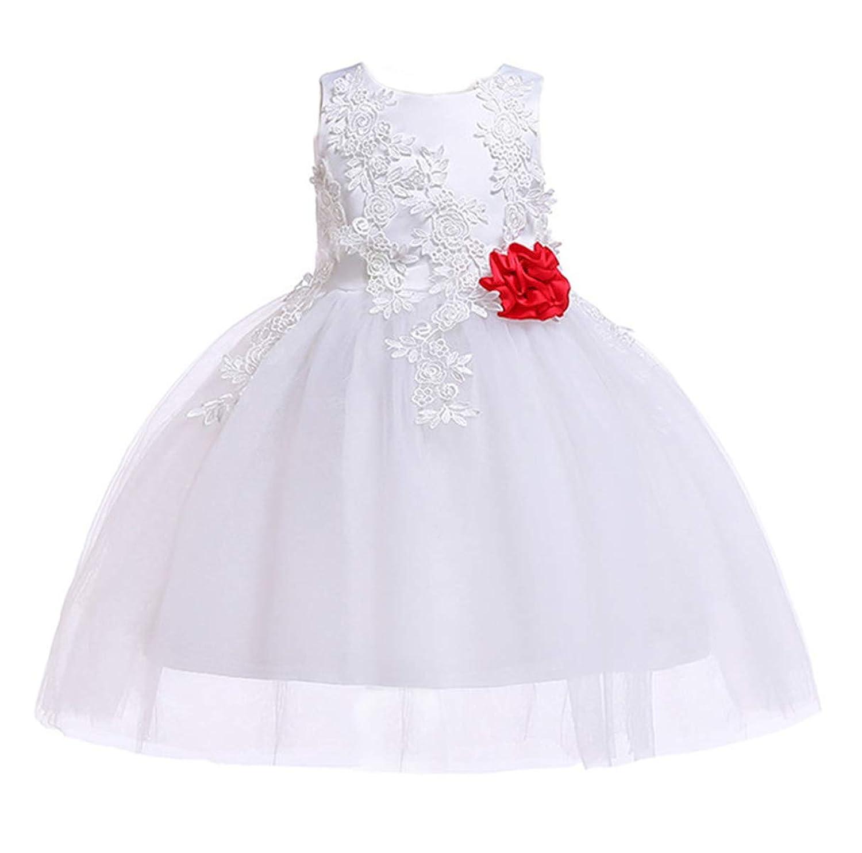 Chbavo ガールズ フォーマルドレス 女の子 袖なし 結婚式 レース 発表会 ホワイト リボン飾り 子供服