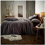 GoldStar - Juego de funda de edredón y fundas de almohada (forro polar), gris oscuro, matrimonio