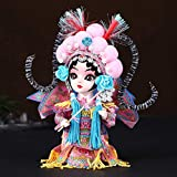 KGDC Escultura Ornamentos Pintado Estilo Chino ópera de Pekín Caracteres Facebook Recuerdo muñeca de la Mano Adornos de 6 Pulgadas Estatua Mu Guiying muñeca Decoración del Escritorio (Color : Pink)