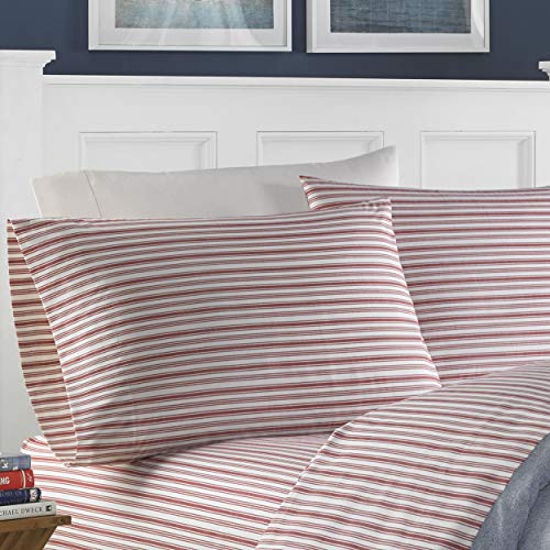 Nautica | Percale Collection | Bed Sheet Set - 100% Cotton, Crisp & Cool, Lightweight & Moisture-Wicking Bedding, King, Coleridge Red