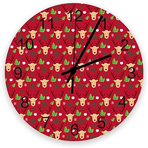 Reloj silencioso de 30,48 cm para decoración de pared – Reloj de madera vintage sin garrapatas fácil de leer para oficina, cocina, dormitorio, sala de estar, aula, alce y hojas pavimentadas