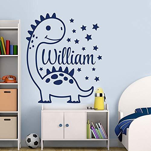 Calcomanías de pared de dinosaurio de dibujos animados personalidad nombre de niño dormitorio de niño decoración de interiores puertas y ventanas pegatinas de vinilo