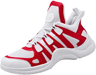 AUCDK Men Fashion Sneakers Splice Upper Shock Absorbing Sports Shoes with Non Slip Sole for Running and Training