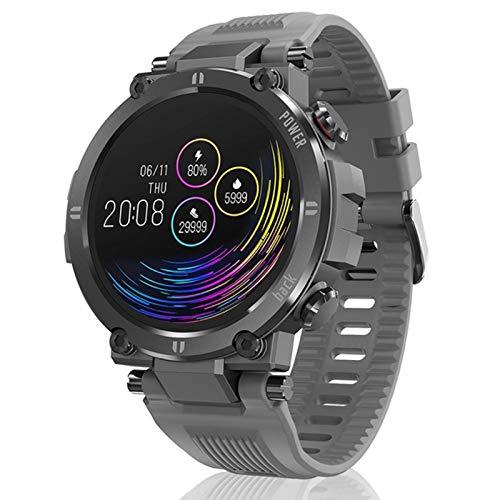 DKM Pulseras Inteligentes para Hombres Y Mujeres Táctiles Completos Pantalla Redonda Pedómetro Ritmo Cardíaco News Push IP68 Responsable Bluetooth Smart Watch para Android iOS,A