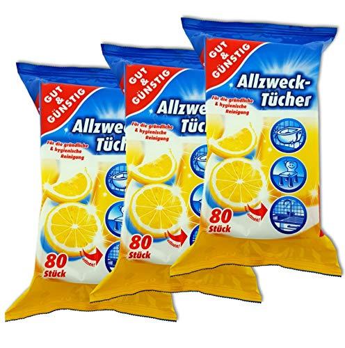 Feuchte Reinigungstücher in Spenderverpackung 240 Stück - 3er Pack (Inhalt 3 x 80 Stück) - Mit frischem Zitronenduft
