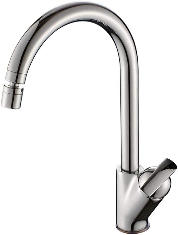 Qpw Copper Kitchen Faucet wash Vegetable Basin Faucet hot and Cold Sink 360 Degrees redatable Faucet